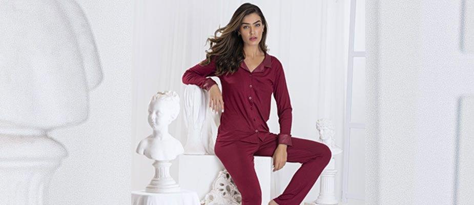 O charme do pijama liso